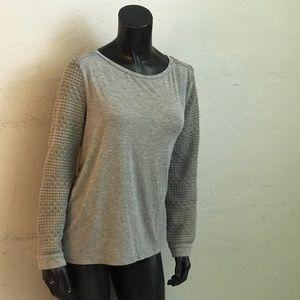 Lace Sleeve top mesh shoulders cold shoulder